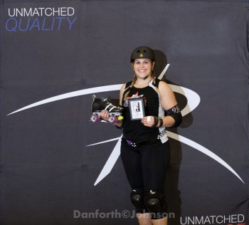 Racer McChaseher of the Detroit Derby Girls - 2014 WFTDA D2 Playoffs in Duluth